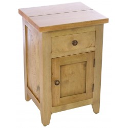 Solid mango wood bedside cabinet or side table in a light wood finish with single drawer and cupboard