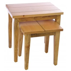 Solid mango wood two table nest with a modern straight edge desing in a light oak coloured finish