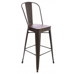 Dark Wood and Metal Bar Chair