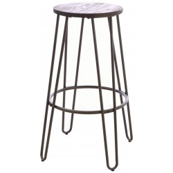 Dark Wood and Metal Bar Stool