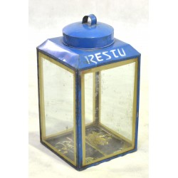 Metal lantern with glass sides made from upcycled oil drums