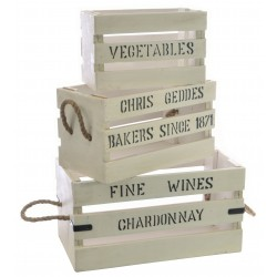 Set of 3 White painted vintage slatted wooden boxes with black lettering
