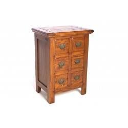 Mango wood chest of drawers with 6 small drawers and brass drop handles in a rustic finish