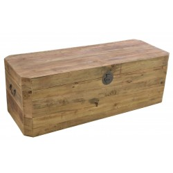Large solid wood chest made from reclaimed pine with aged distressing and worm holes in storage is split in to two spaces