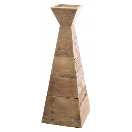Solid wood pyramid shaped candle holder made from reclaimed pine with aged distressing and worm holes