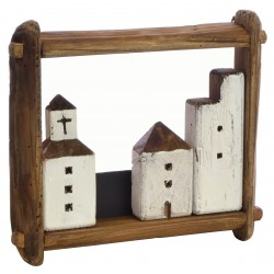 Fishing village with a church in a landscape frame made from reclaimed pine