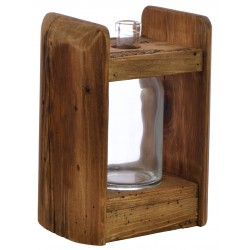 Solid wood single bottle display vase made from reclaimed pine with aged distressing and worm holes