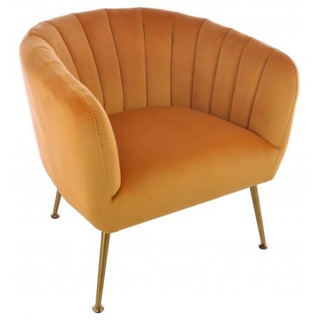 Velvet tub chair in Sunflower Orange with brass coloured tapered legs