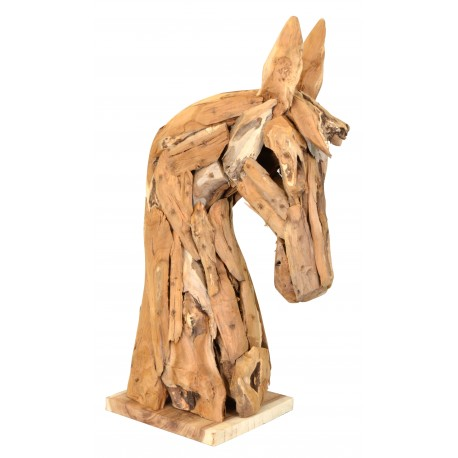 Small horses head sculpture made with reclaimed teak wood in a rustic style