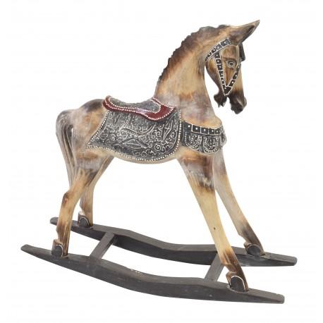 Medium Rocking Horse ornamental with black saddle work