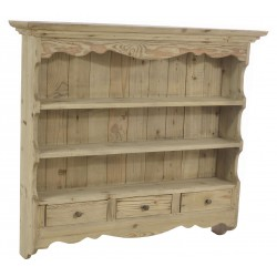 Solid wood three shelf kitchen wall rack with three small drawers in a stripped back old world finish.