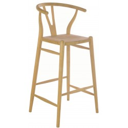 Solid wood bar chair with solid wood seat and a plain wood finish designed in an curved wishbone style