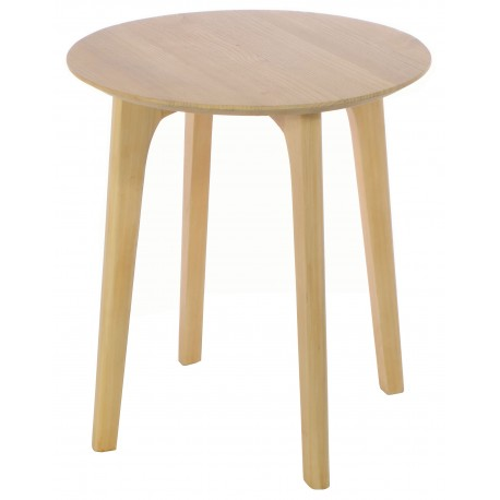 Solid wood round side table with simple round legs and finished in a plain wood finish