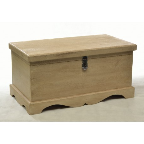 Mango Wooden Storage Chest with a simple design of curved skirt and chamfered lid