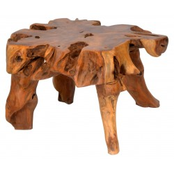 Solid wood small coffee table made from the root of a teak tree each table is unique in design with a polished finish