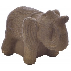 Small Dark Stone Standing Elephant with raised trunk and decorated back