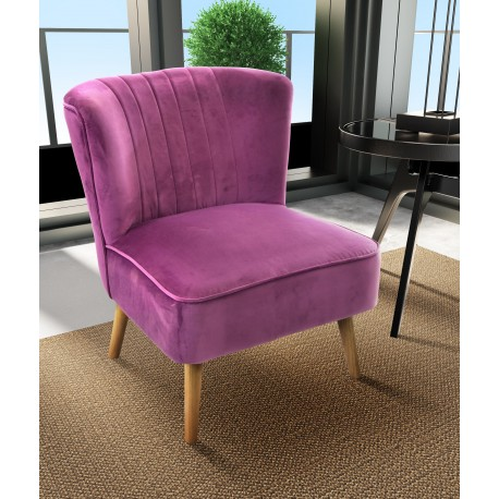 Plum velvet covered accent chair or bedroom chair with wooden legs