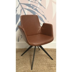 Industrial Metal Tan Faux Leather Armchair
