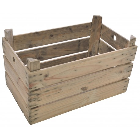 Solid wood slatted crate in a stripped back wood finish with two cut out finger holes for handle