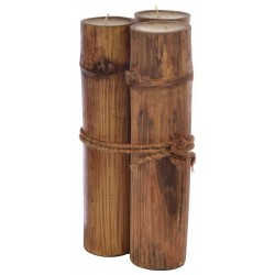 Rustic Three Bamboo Candle Group