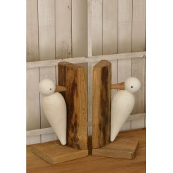 Reclaimed pine solid wood book ends with a stylised bird or seagull motif