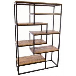 Industrial style metal land wood open bookcase with a selection of different sized fixed shelves