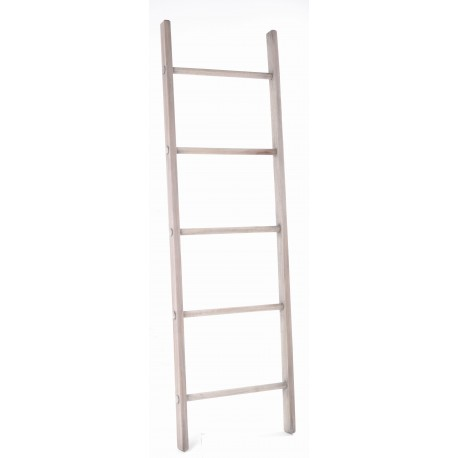 Solid wood display ladder with 5 rungs and a stripped back rustic wood finish