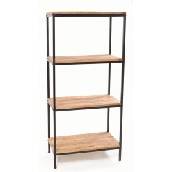 Open bookcase with laquered Mango wood shelves and black painted steel frame