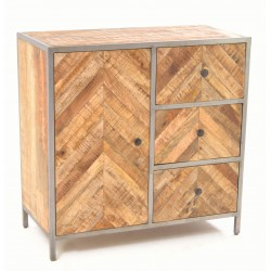 Mango Wood small cupboard or sideboard with herringbone draw fronts and cupboard door and black painted steel frame