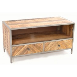 Mango Wood TV Unit with two parquet front drawers and solid mango wood top and sides on a black painted steel frame