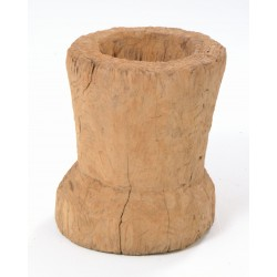 Solid teak rice mortar with rough thick teak sides and deep grinding hole