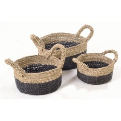 Set of 3 hand woven stackable low baskets with black base and natural top and handles