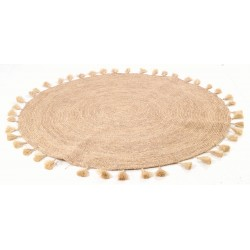 Hand woven round rug with tassels on the edge in a natural rafia colour