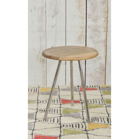Retro styled round side table with solid mango wood top and three metal legs set at an angle