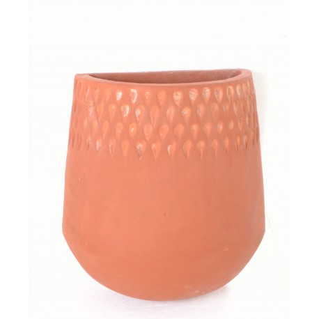 Hand made terracotta planter pot with a raindrop motif