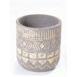 Grey coloured hand made cylindrical terracotta vase with a square motif in white