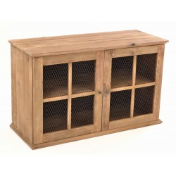 Solid Wood Two Door Sideboard made from reclaimed pine with metal mesh door panels