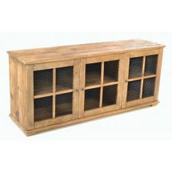 Solid Wood Three Door Sideboard made from reclaimed pine with metal mesh door panels