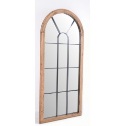 Solid wood framed mirror with black steel decorative front and finished in a plaine wood finish