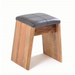 Black leather seated solid wood stool made from reclaimed pine finished in a plain wood finish