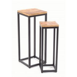 Set of two side square side tables with solid mango wood tops and square steel bases finished in black
