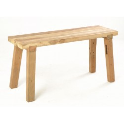 Solid teak wood rustic bench about 100cm long with a naturally distressed and unpainted finish