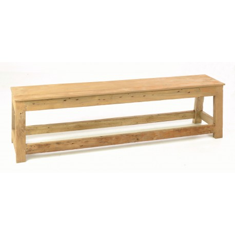 Rustic solid teak bench with rustic country unpainted finish