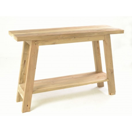 Rustic country solid teak console table with angled legs and low shelf in a plain unpainted wood finish