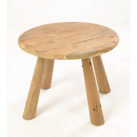 Rustic country solid teak round coffee table with four tapered legs and a plain wood unpainted finish