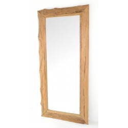 Rustic tall floor standing mirror with naturally distressed and unpainted solid teak frame and plain glass