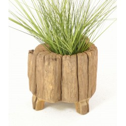 Rustic solid teak planter made from the trunk of the tree with a natural unpainted finish