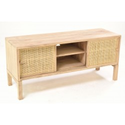 Solid wood tv unit in a unapinted finish with six shelf compartments and two sliding doors with woven rattan fronts
