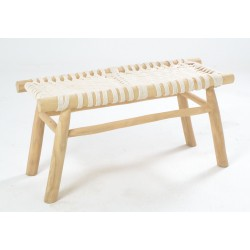 Solid wood bench with white rope woven seat and frame made from teak branches with a plain unpainted finish