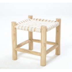Solid wood stool with a white rope woven seat and frame made from teak branches left unfinished